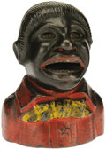 Antiques:Black Americana, Cast Iron Negro Bank. A popular form in which coins are inserted into the mouth only to be swallowed when a lever is pushed....