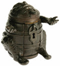 Antiques:Toys, J & E Stevens Man-in-Barrel Iron Bank. Humorous late 19th century bank composed of several cast parts. A grinning man with o...