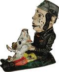 Antiques:Toys, Paddy and the Pig Mechanical Bank manufactured by J. & E.Stevens appears here with the Irish Paddy trying hard to restrain...