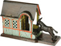 Antiques:Toys, Mule Entering Barn Cast Iron Mechanical Bank made by J. & E. Stevens Company and patent dated 1880. Much of the polychrome p...