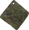 Antiques:Black Americana, 1844 Charleston FRUITERER Slave Hire Badge. Number 68. A flatdiamond-shaped tag with clipped, rounded corners, holed for su...