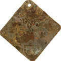 Antiques:Black Americana, 1837 Charleston SERVANT Slave Hire Badge. Number 1793. A flatdiamond-shaped tag with slightly clipped corners, holed at the...