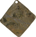 Antiques:Black Americana, 1832 Charleston SERVANT Slave Hire Badge. Number 2133. A slightlyconcave diamond-shaped tag with clipped, rounded corners, ...
