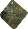 Antiques:Black Americana, 1861 Charleston SERVANT Slave Hire Badge. Number 2478. Adiamond-shaped tag with clipped corners and a hole at the top fors...