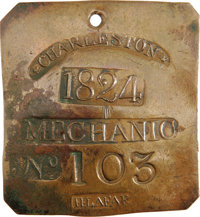 1824 Charleston MECHANIC Slave Hire Badge. Number 103. A slightly convex square-shaped tag with clipped corners, a hole...