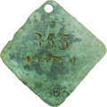 Antiques:Black Americana, 1863 Charleston SERVANT Slave Hire Badge. Number 353. A slightlyconvex diamond-shaped tag with clipped, rounded corners and...