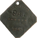 Antiques:Black Americana, 1848 Charleston PORTER Slave Hire Badge. Number 941. A flatdiamond-shaped tag with clipped corners, holed at the top for su...