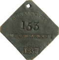 Antiques:Black Americana, 1857 Charleston MECHANIC Slave Hire Badge. Number 153. A flat diamond-shaped tag with clipped corners, holed at top for susp...