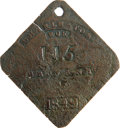 Antiques:Black Americana, 1849 Charleston Neck SERVANT Slave Hire Badge. Number 115. Anextremely rare flat diamond-shaped tag with clipped, rounded c...