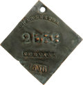 Antiques:Black Americana, 1856 Charleston SERVANT Slave Hire Badge. Number 2538. A flatdiamond-shaped tag, corners unclipped, holed (slightly off-cen...