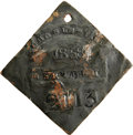 Antiques:Black Americana, 1858 Charleston SERVANT Slave Hire Badge. Number 2113. A slightlyconvex diamond-shaped tag, corners unclipped, holed at the...