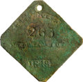 Antiques:Black Americana, 1848 Charleston MECHANIC Slave Hire Badge. Number 263. A flat diamond-shaped tag with clipped corners, a hole at the top for...