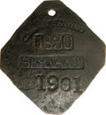 Antiques:Black Americana, 1830 Charleston SERVANT Slave Hire Badge. Number 1901. A slightly convex diamond-shaped tag with clipped corners, holed for ...