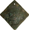 Antiques:Black Americana, 1819 Charleston PORTER Slave Hire Badge. Number 224. A large slightly convex diamond-shaped tag with rounded clipped corners...