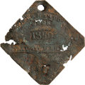 Antiques:Black Americana, 1850 Charleston Neck FRUITERER Slave Hire Badge. Number 7. An exceedingly rare flat diamond-shaped tag with clipped corners,...