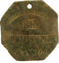 Antiques:Black Americana, 1813 Charleston PORTER Slave Hire Badge. Number 300. A nearly flat octagonal tag with a hole at the top for suspension, 49mm...