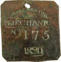 Antiques:Black Americana, 1820 Charleston MECHANIC Slave Hire Badge. Number 175. A nearlyflat square-shaped tag (as they were in even-numbered years ...