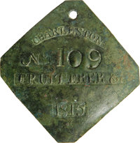 1815 Charleston FRUITERER Slave Hire Badge. Number 109. A slightly convex diamond-shaped tag with clipped corners with a...