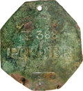 Antiques:Black Americana, 1805 Charleston PORTER Slave Hire Badge. Number 388. A slightlyconvex octagonal tag with a hole at the top for suspension, ...
