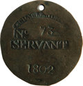 Antiques:Black Americana, 1802 Charleston SERVANT Slave Hire Badge. Number 73. A flat roundtag with a hole at the top for suspension, 51mm in diamete...