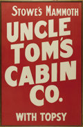 """Entertainment Collectibles:Theatre, Uncle Tom's Cabin Theater Poster A massive red-on-white silk-screened poster, early 1900s, reading, """"STOWE'S UNCLE TOM'S CAB..."""