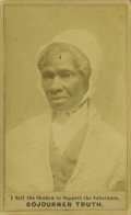 Antiques:Black Americana, Rare Variety of Sojourner Truth Carte de Visite, with GreatSlogan and Michigan Back Imprint. This unusual 1864-date...