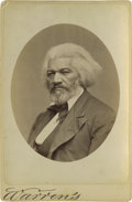 Photography:Cabinet Photos, Cabinet Photo of Frederick Douglass, study by Warren, complete andin unparalleled condition. Douglass, who was a close Linc...