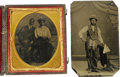 Photography:Tintypes, Cased 1/6th Plate Tintypes- Black Couple and Black Mason. Here weoffer two interesting images. One is a 1/6th plate of a bl...