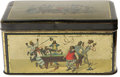 Antiques:Black Americana, Litho Tin Depicting Black Billiard Players. The hinged lid and foursides of this circa 1890 tin illustrate a billiard shot ...