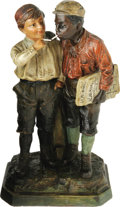 Antiques:Black Americana, Austrian Black and White Newsboys Figural Ceramic. A wonderfulturn-of-the-century street tableaux showing a small black new...