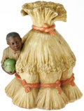 Antiques:Black Americana, Black Boy With Watermelon Lidded Jar. This unusual ceramiccomposition, circa 1900, consists of a young black fellowemergin...