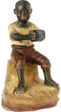 Antiques:Black Americana, Black Concertina Player Figurine. Unlike many early depictions ofBlacks, this charming figural ceramic, circa 1900, embrace...