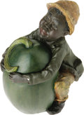 Antiques:Black Americana, Chalkware Black Boy With Watermelon Lidded jar, circa 1900, in theform of a realistic and well-proportioned black boy embr...