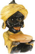 """Antiques:Black Americana, Turbined Googly-Eyed Black Figural Holder circa 1930s, 7"""" tall andappears in excellent condition. Made to roll, the eyes ar..."""