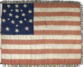 Military & Patriotic:Pre-Civil War, Unique 21 Star Silk American National Flag whose marvelous animated embroidered stars are configured in a double irregular m...