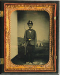 """Photography:Tintypes, Civil War """"Iron Brigade"""" Soldier 1/4 Plate Tintype in a Union Case.Shown in this photo is a soldier in dress uniform posed ..."""