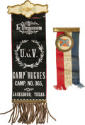 "Military & Patriotic:Civil War, Two Texas U.C.V. Ribbon Badges by Whitehead & Hoag. The United Confederate Veterans had branch ""camps"" or chapters all over ... (Total: 2 )"