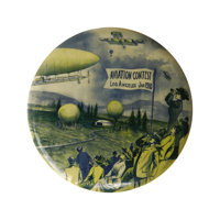"""Aviation Souvenir Celluloid Button. Made for what is considered the first aviation contest, this 6"""" large celluloid..."""