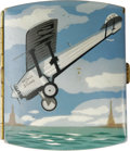 Transportation:Aviation, Spirit of St. Louis Cigarette Case. Charles Lindburgh's famousaircraft is shown flying at a disturbing angle on the colorfu...