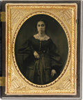 Photography:Tintypes, Beautiful 1/4th Plate Cased Tintype Image of Lady, unidentified and unattributed to any photographer. The image is clear wit...