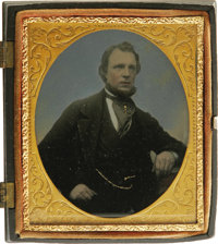 Tinted 1/6th Plate Ambrotype in Union Case. This photo of a prosperous gentleman, circa 1860, is hand colored with reali...
