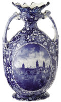 General Historic Events:World Fairs, St. Louis World's Fair Roland & Marcellus Vase. Blue and whitetransfer designs cover the entire surface of this graceful tw...