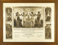 Sesqui-Centennial Expo Prize Certificate. Large Gold Medal award from Philadelphia's 1926 Sesqui-Centennial Exposition p...