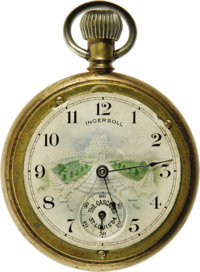 "1904 St. Louis World's Fair Souvenir Pocket Watch. Sensational pocket watch with a color image of ""The Cascades&quo..."