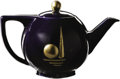 General Historic Events:World Fairs, New York 1939-40 World's Fair Hall China Teapot. This stunning ArtDeco teapot has a dark navy blue glaze overall and is dec...