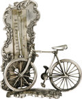 Antiques:Decorative Americana, Pairpoint Silver Plated Bicycle Thermometer. Normally known for itslamps, here we offer this diminutive thermometer made by...