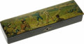 Antiques:Decorative Americana, Vintage Baseball Enamel Pencil Box with an exceptionally colorfulscene of spectators watching the game. This early box with...