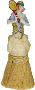 """Antiques:Decorative Americana, Porcelain Lady Tennis Player Clothing Brush marked """"Made in Japan""""and in excellent condition. The colorful flavor of the de..."""