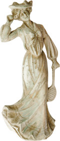 Antiques:Decorative Americana, Bisque Tennis Player Figurine. This stately Edwardian lady seems tobe on the cusp of delivering a genteel tennis serve. Fai...