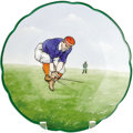 Antiques:Decorative Americana, MZ Austria China Baseball Plate made in Austria by Moritz Zdekauer,circa 1900, this hand-painted china plate targeted the A...